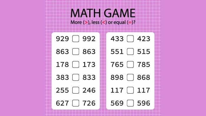 Printable Math Games 4th Grade