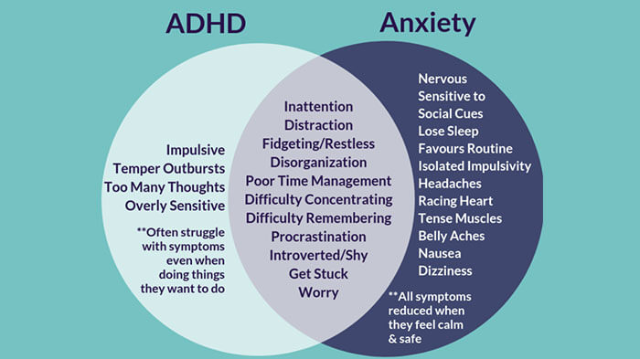 Clinical features of anxiety and ADHD
